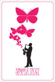 Saxophonist with butterflies vector illustration. — Stock Vector