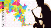 Saxophonist with butterflies vector illustration. — Stock Vector