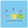Greeting card with funny sleeping animals. Vector illustration. Place for your text. — Stock Vector #19193785