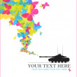 Abstract vector illustration with tank and butterflies. Place for your text. - Stock Vector