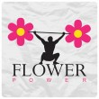 Abstract vector illustration of a weight lifter and flowers on a paper-background. — Stock Vector