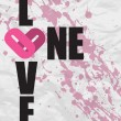 Royalty-Free Stock Vector Image: One love grunge text on a paper-background. Vector