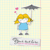 Cute sleeping girl with umbrella in cartoon style on a writing-book-backgr ound. Vector illustration. — Stock Vector