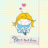 Cute sleeping girl in cartoon style on a writing-book-backgr ound. Vector illustration. — Stock Vector