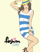 Fashion girl in sketch-style. Vector illustration. — Stock Vector