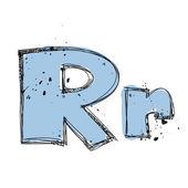 Hand drawn letter R. Vector illustration — Stock Vector