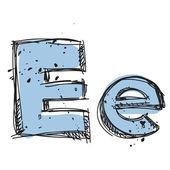 Hand drawn letter E. Vector illustration — Stock Vector