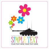 Ilustración vectorial abstracto con el tanque y flores. lugar para el texto. — Vector de stock