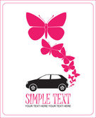 Abstract vector illustration with car and butterflies. Place for your text. — Stock Vector