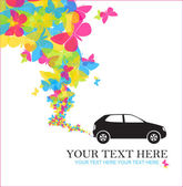 Abstract vector illustration with car and hearts. — Stock Vector