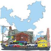 Vektorové ilustrace z města v náčrtu stylu. — Stock vektor