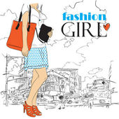 Fashion girl in sketch-style on a town-background. Vector illustration. — Stock Vector