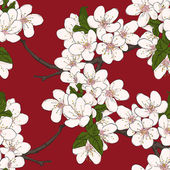Seamless floral pattern with cherry flowers. Vector — Stock Vector