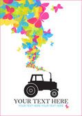 Abstract vector illustration with tractor and butterflies. Place for your text — Stock Vector