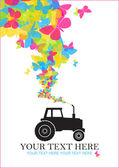 Streszczenie wektor ilustracja z ciągnika i motyle. miejsce na twój tekst — Wektor stockowy