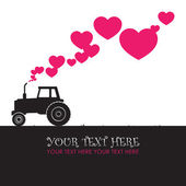 Abstract vector illustration with tractor and hearts. Place for your text — Stock Vector