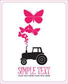 Illustrazione vettoriale astratta con trattore e farfalle. posto per il vostro testo. — Vettoriale Stock