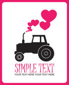 Abstract vector illustration with tractor and hearts. Place for your text. — Stock Vector