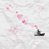 Abstract vector illustration with steamship and hearts on a paper-background. Place for your text. — Stock Vector