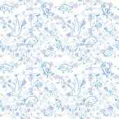 Seamless pattern with cartoon birds and flowers. Vector — Stock Vector