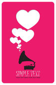 Vintage gramophone with hearts. Abstract vector illustration. Place for your text. — Stock Vector