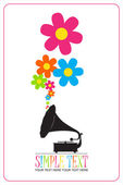 Vector illustration with vintage gramophone and flowers. — Stock Vector