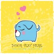 Nice sleeping doggy with hearts. Vector illustration. Place for your text. - Stok Vektör