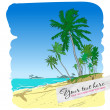 Summer beach with palm trees in sketch-style. Vector illustration. — Stock Vector