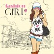 Sexy fashion girl in sketch style on a city-background. - Imagen vectorial