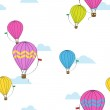 Vector seamless pattern with hot air balloons. — Stock Vector