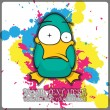 Funny duck vector illustration. Place for your text. — Stock Vector #19214771