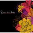 Beautiful flowers card. Vector illustration. Place for your text. — Stockvectorbeeld