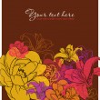 Beautiful flowers card. Vector illustration. Place for your text. — Image vectorielle
