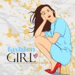 Sweet fashion girl in sketch-style on a grunge-background.. Vector illustration. Place for your text. — Vetor de Stock  #19215387