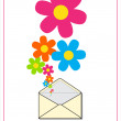 Abstract vector illustration with envelope and flowers. Place for your text. — Stock Vector