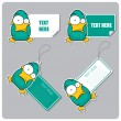 Vector set of tags and stickers with cartoon duck. - Stok Vektör