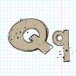 Hand drawn letter q on a writing-book-backgr ound. Vector illustration — Stock Vector
