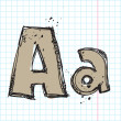 Hand drawn letter A on a writing-book-backgr ound. Vector illustration — Stockvectorbeeld