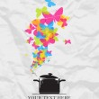 Abstract vector illustration with pan and butterflies. Place for your text — Stock Vector