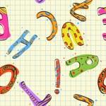 Childish alphabet seamless texture. Vector illustration — Stock Vector