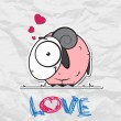 Pink sheep cartoon character on a paper-background. Vector illustration. - Imagen vectorial