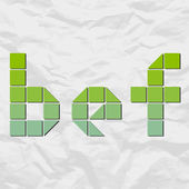 Letter bef from squares and triangles on a paper-background. Vector illustration — Vecteur