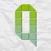 Alfabet q van pleinen en driehoeken op een papier-achtergrond. vectorillustratie — Stockvector