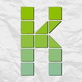 Letter k from squares and triangles on a paper-background. Vector illustration — Stock Vector