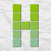 Brief h van pleinen en driehoeken op een papier-achtergrond. vectorillustratie — Stockvector