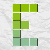 E письмо от квадраты и треугольники на фоне бумаги. векторные иллюстрации — Cтоковый вектор