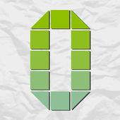 число 0 от квадраты и треугольники на фоне бумаги. векторные иллюстрации — Cтоковый вектор