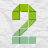 Número 2 de cuadrados y triángulos en un papel de fondo. ilustración vectorial — Vector de stock