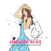 Girl in sketch style. Vector illustration. Place for your text. — Stock Vector