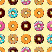 Seamless Texture of Donuts — Stock Vector